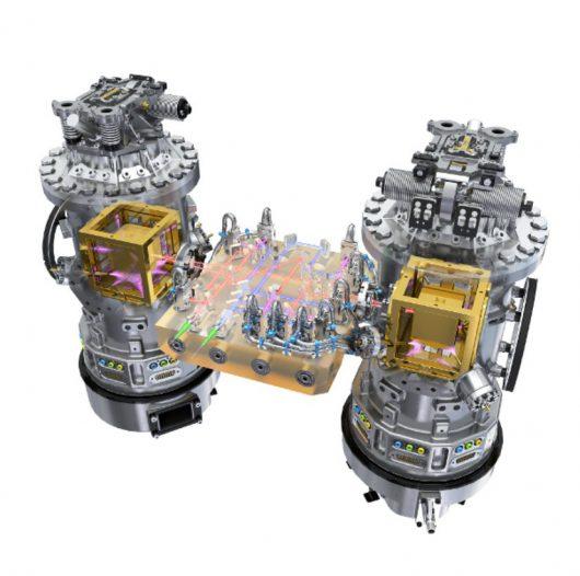 Artystyczna wizja testu mas w pojeździe LISA Pathfinder, © ESA