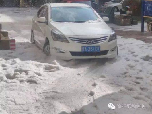 Chiny - Ulewy i gradobicie w Harbin -2