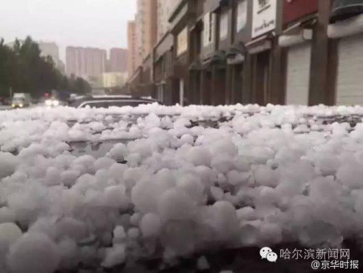 Chiny - Ulewy i gradobicie w Harbin -4