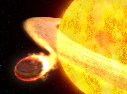 Planeta KELT-9b może zostać połknięta przez gwiazdę, jak ukazuje to wizja artysty NASA/ ESA