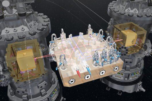 Schemat systemu laserowego, mierzącego odległość sześcianów we wnętrzu sondy LISA Pathfinder /ESA/ATG medialab /materiały prasowe