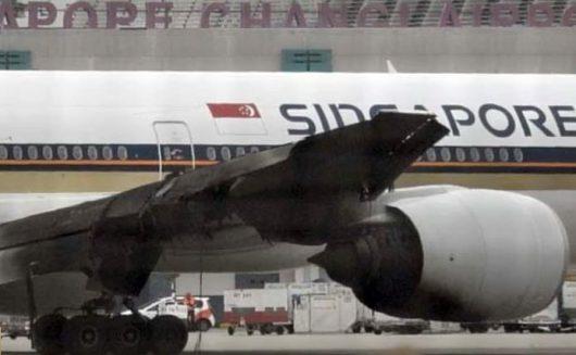 Skrzydło samolotu po pożarze