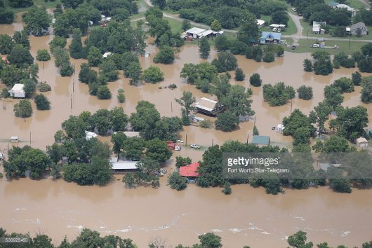An aerial view of homes in the Horseshoe Bend area on the banks of the Brazos River Wednesday, June 1, 2016. (Brandon Wade/Fort Worth Star-Telegram/TNS)