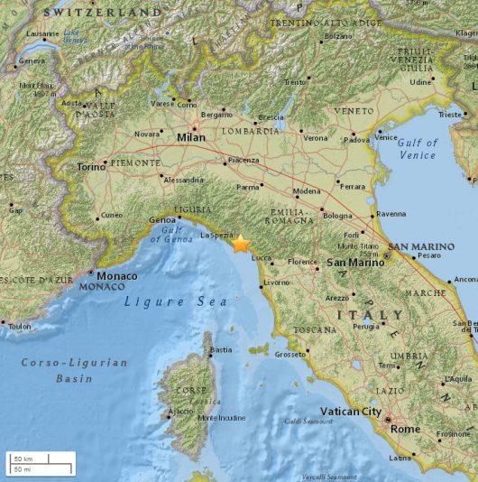 Włochy - W Ligurii zatrzęsła się ziemia, magnituda 4.2