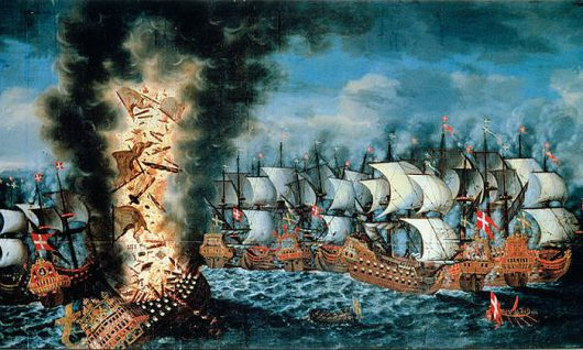 Bitwa pod Olandią, eksplozja na Kronanie. Claus Møinichen, 1686 r.