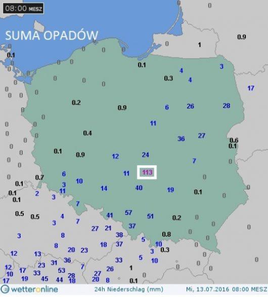 Dobowa suma opadów (dane w litrach na metr kwadratowy)
