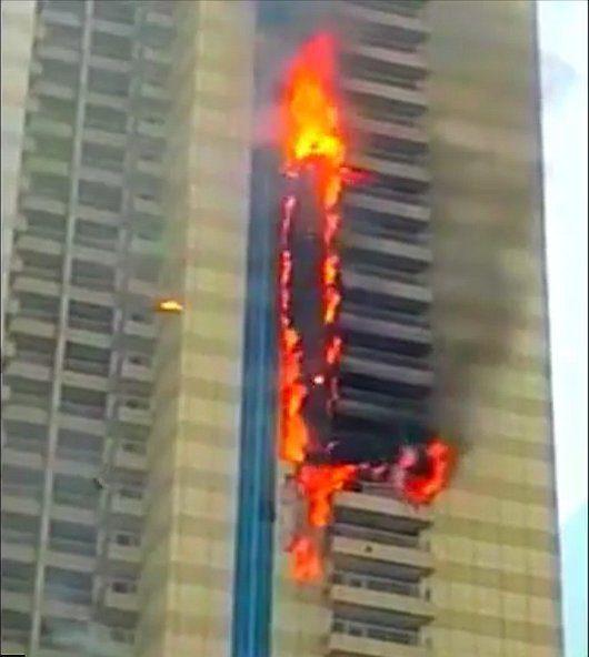 Dubaj, ZEA - Pożar wieżowca Sulafa Tower