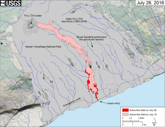 Hawaje Pu 'O'o - Mapa przepływów na 27.07.2016 - mapa HVO
