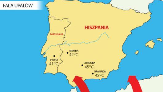 Maksymalna temperatura powietrza w Hiszpanii i Portugalii 3 lipca 2016 roku