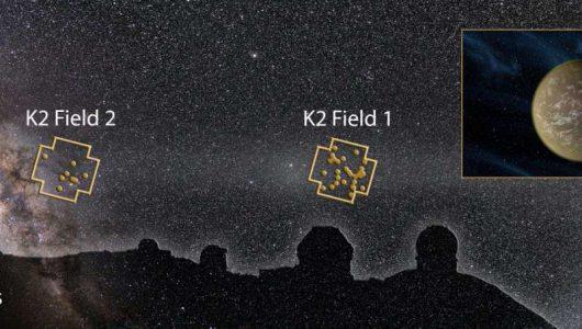 Montaż obrazów przedstawiający Maunakea Obserwatoria Kepler Space Telescope i nocne pole nieba z K2 i odkryte układy planetarne (kropki). Credit: Karen Teramura(UHIfA)