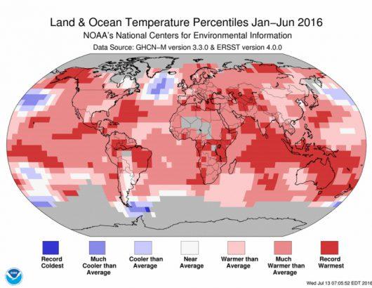 Odchylenie średniej temperatury okresu styczeń-czerwiec 2016 od normy