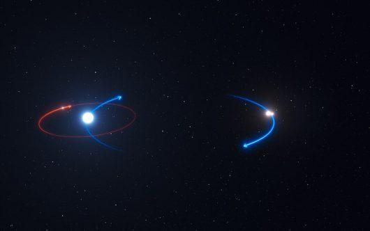Ta grafika przedstawia orbitę planety w układzie HD 131399 (czerwona linia) i orbity gwiazd (niebieskie linie). Planeta okrąża najjaśniejszą gwiazdę systemu, HD 131399A.
