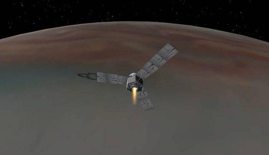 Sonda Juno pomyślnie weszła na orbitę Jowisza. Credyt: NASA / JPL-Caltech