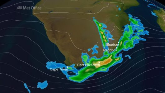 Strefa opadów deszczu i śniegu w Południowej Afryce