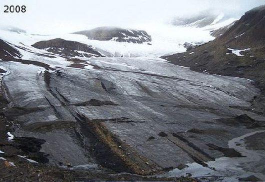 Szybka recesja lodowca Ferdinand (Ferdinandbreen) 2008