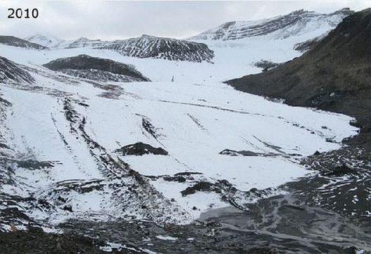 Szybka recesja lodowca Ferdinand (Ferdinandbreen) 2010 r.