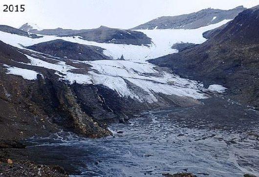 Szybka recesja lodowca Ferdinand (Ferdinandbreen) 2015 r.