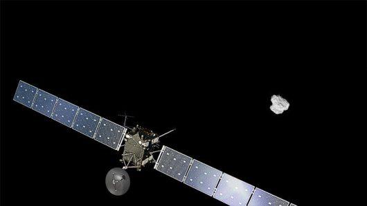 Tak rysownik wyobrażał sobie Rosettę zbliżającą się do 67P Satelita/ ESA/ ATG