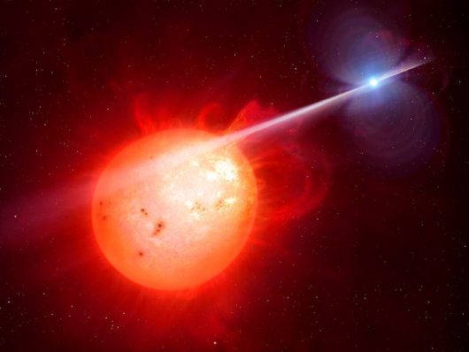 Wrażenie artysty binarnego układu planetarnego AR Scorpii /M. Garlick/University of Warwick/ESO