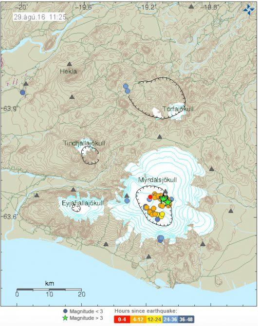 Islandia - Seria wstrząsów sejsmicznych w kalderze wulkanu Katla