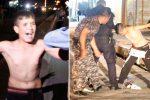 Kirkuk, Irak - 12-letniemu dzieciakowi policja ściągnęła pas wypełniony materiałami wybuchowymi