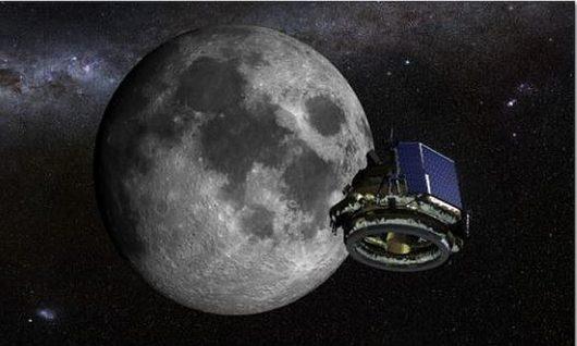 Koncepcja artysty Moon Express MX-1 księżycowego lądownika w drodze na Księżyc. Kredyt: Moon Express