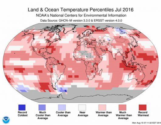 Odchylenie średniej miesięcznej temperatury od normy w lipcu 2016