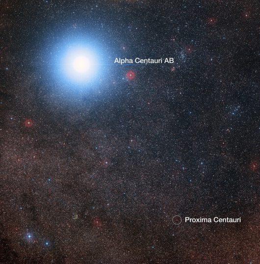 Porównanie jasności Alfa Centauri AB i Proxima Centauri /Digitized Sky Survey 2/ Davide De Martin/Mahdi Zamani /materiały prasowe