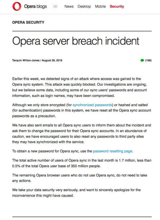 Wyciekły dane przeglądarki Opera, hakerzy posiadają teraz hasła, które ludzie zapisywali w przeglądarce i korzystali z funkcji Opera Sync