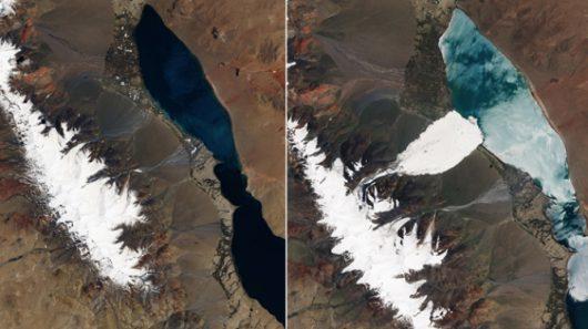 Lawina lodowa w TybecieNASA Earth Observatory/ Joshua Stevens, ESA