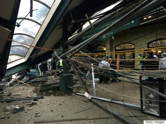 HOBOKEN, NJ - SEPTEMBER 29:  The roof collapse after a NJ Transit train crashed in to the platform at the Hoboken Terminal September 29, 2016 in Hoboken, New Jersey. (Photo by Pancho Bernasconi/Getty Images)