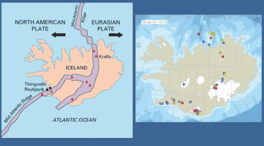 Mapa pokazująca połączenie płyt tektonicznych oraz miejsca występowania trzęsień ziemi / vedur.is