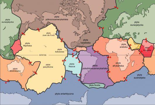 Płyty tektoniczne, źródło: wikipedia.org