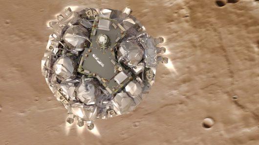 Silniki hamujące miały się wyłączyć około 2 metrów nad powierzchnią Marsa /ESA/ATG medialab /materiały prasowe