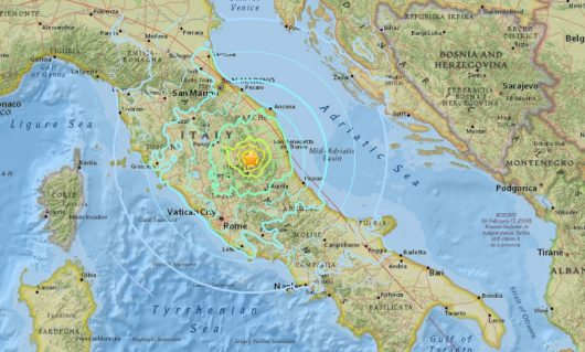 Trzęsienie ziemi wystąpiło 68 km od Perugii