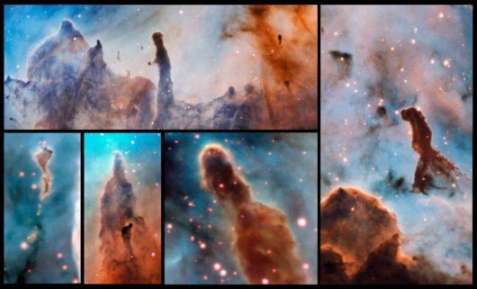 Zestaw kolumn gazu i pyłu, obserwowanych w obrębie Mgławicy Carina /ESO/A. McLeod /materiały prasowe
