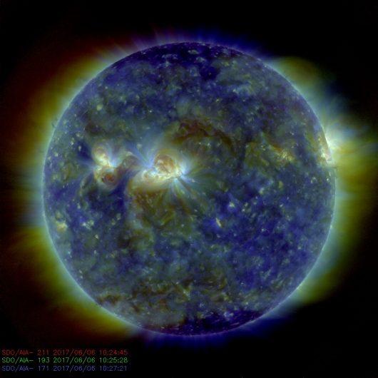 Słońce – W piątek 9 czerwca na wprost Ziemi może uformować się dziura koronalna, wkrótce znajdzie się tam również dość aktywna plama słoneczna