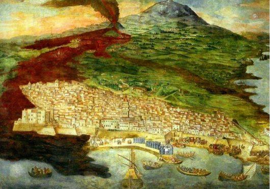 Obraz autorstwa Giacinto Platania, świadka erupcji 1669