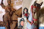 Estella, Hiszpania - Nauczycielka plastyki odświeżyła liczącą 500 lat postać świętego Jerzego na koniu